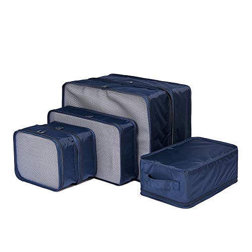 JJ POWER Lightweight Travel Packing Cubes -Multi function, Durable 6 Piece (Navy Blue)