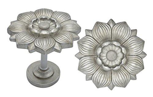 Urbanest Large Bloom Medallion Drapery Holdback, Set of 2, English Pewter - Large Curtain Holdback