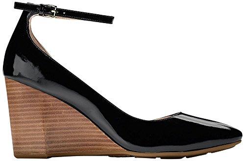 Cole Haan Women's Sadie Ankle Strap Wedge 85MM Platform, Black Patent, 7 B US