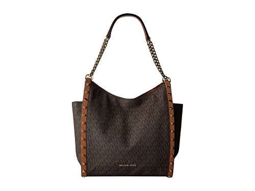 MICHAEL Michael Kors Newbury Medium Chain Shoulder Tote (Brown Stud) by Michael Kors