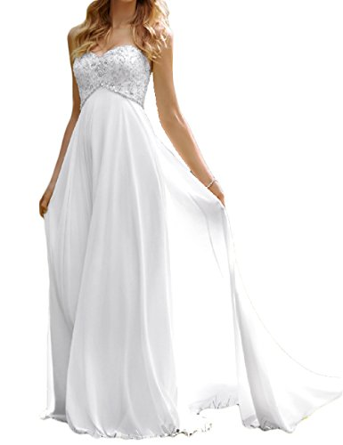 White Strapless Wedding Gown (Favors Dress Women's Sweetheart Beach Wedding Dress Bead Bridal Gown Empire White)