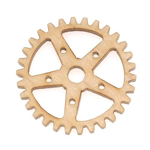 Maple Wood Laser Cut Steampunk 5 Point Star Gear Pendant Component 1 Inch