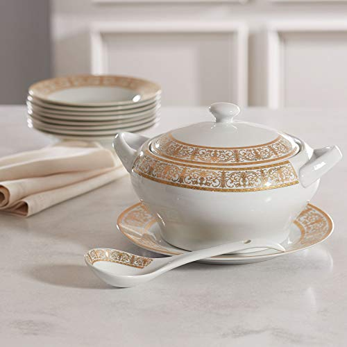 Brylanehome Medici 4-Pc. Porcelain Soup Tureen Set - Gold White