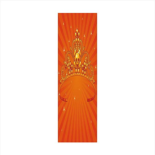 (Decorative Window Film,No Glue Frosted Privacy Film,Stained Glass Door Film,Fancy Halloween Princess Crown with Little Skull Daisies on Radial Orange Backdrop Stars Decorative,for Home &)