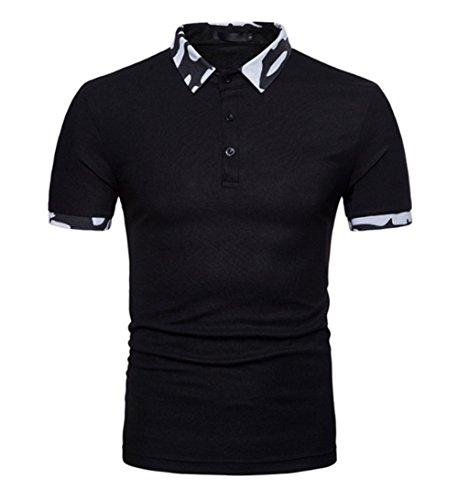 メンズポロシャツ 半袖 Tシャツ ゴルフシャツ メンズ スポーツウェアー ブラック+ホワイト 2018夏新着