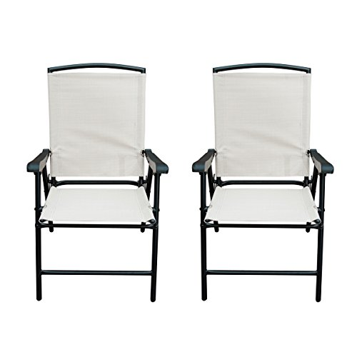 SunLife folding Fabric Chair, Outdoor All Weatherproof Patio Garden Folding Chair with Steel Frame, Set of 2, Beige
