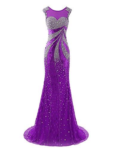 Tüll Zurück Damen Lange Meerjungfrau Abendkleid Ballkleider Izanoy Lilac XqwUgU
