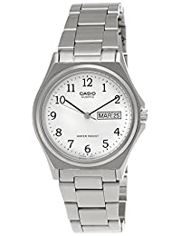 Casio Men's Core MTP1240D-7B Silver Stainless-Steel Analog Quartz Watch with White Dial