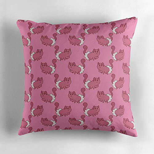 (Jidmerrnm Mitten Kitten Pink Pattern Square Throw Pillow Cover Soft Cotton Cushion Cover Decorative for Bedroom, Living Room, Sofa, Couch & Bed (18x18 inch))