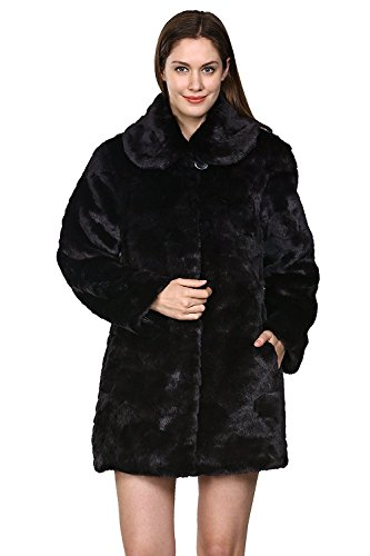 Adelaqueen Women's Black Trimmed Mink Faux Fur Strip & Block Style Lapel Coat Size XL by Adelaqueen