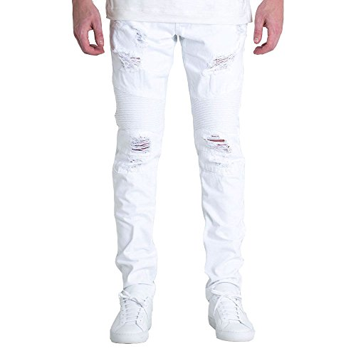 Embellish NYC Daytona Biker Denim Jeans White by Embellish NYC