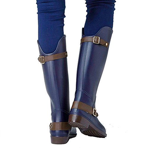 NAN New Ladies Spring And Summer Fashion Rain Boots Boots High Buckle Buckle Riding Boots Water Shoes (Color : Blue, Size : EU37/UK4.5-5/CN37) Blue