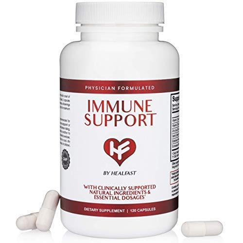 HealFast Clinical Immunity Support Supplement - Premium Sambucus Elderberry, Vitamin C, D, Zinc, Garlic, Echinacea - Physician-Formulated, Research-Based Immune Boost - 120 Capsules