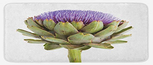 Lunarable Artichoke Kitchen Mat, Close-Up Organic Artichoke Image with Thistles for Vegetarian Healthy Food Theme, Plush Decorative Kitchen Mat with Non Slip Backing, 47 W X 19 L Inches, Multicolor