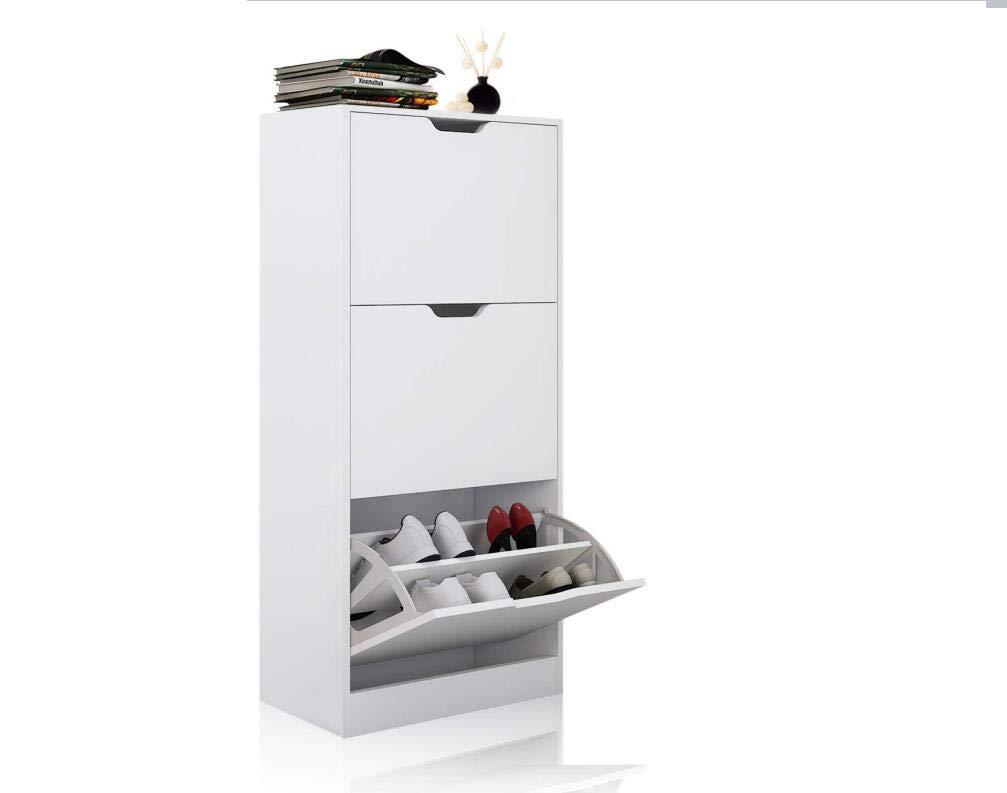MAIMAITI Scarpiera legno-Con tre scomparti ad anta basculante-Bianco-60 ×23.5 ×118cm
