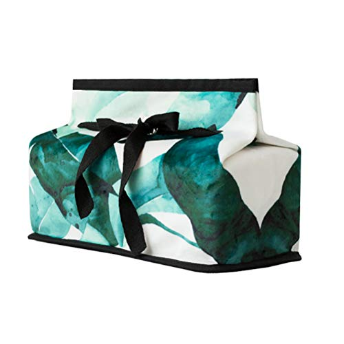Ins Creative Rectangle Nordic Green Leaves Forest Bowknot Paper Facial Tissue Box Cover Organizer Holder for Car Bathroom Vanity Countertops Bedroom Dressers Night Stands Desks and Tables - Green