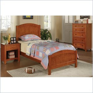 Poundex 3 Piece Kids Twin Size Bedroom Set in Medium Oak (Panel Footboard Nightstand Set)