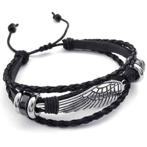 KONOV Mens Leather Wrap Bracelet, Vintage Wing, Fit 7-9 inch, Black Silver