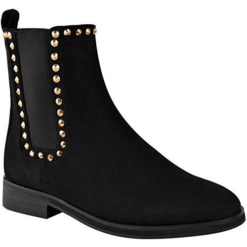 Moda Donna Sete Da Donna Flat Nero Chelsea Ankle Boots Oro Tira Su Comfort Nero In Finta Pelle Scamosciata