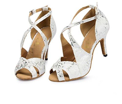 De Impresión Hebilla Heel Cuero High Salsa Tobillo Para Salón Sandalias Latina Clásica Wgwioo Chunky Mujer Suede Soft Zapatos Blanco Baile C Bottom Strap XqF7wU
