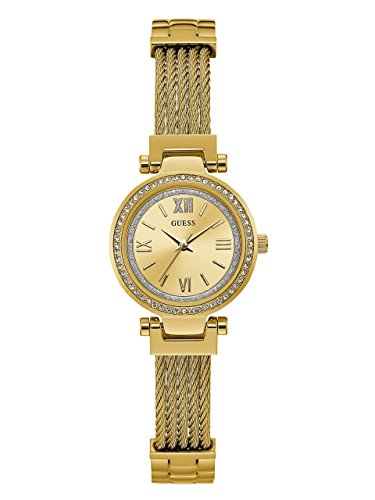 GUESS Women's Stainless Steel Casual Wire Bangle Bracelet Watch, Color: Gold-Tone (Model: U1009L2) (Quartz Watch Bangle Bracelet)