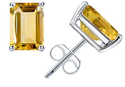 Citrine Earrings Cut Jewelry - 1.1 Ct Yellow Citrine Gemstone Birthstone 925 Sterling Silver Stud Earrings Emerald-Cut 6x4mm For Women