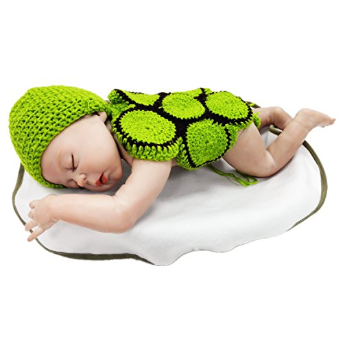 Kalevel Cute Tortoise Style Infant Newborn Baby Girl Boy Crochet Beanie Hat Clothes with Flowers Elastic Headwear Headbands Set Baby Photograph Props (Wear Knit Hat)