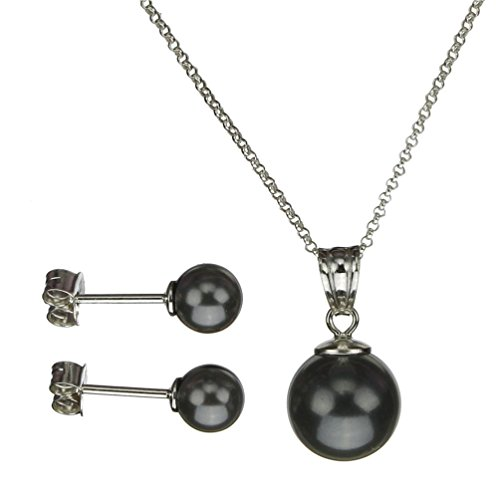 Joyful Creations Sterling Silver Chain Necklace Earrings Black Simulated Pearl Pendant Made with Swarovski Crystals 18