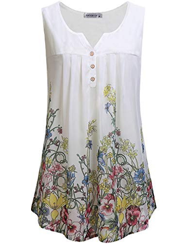 MOQIVGI Shirts for Women Work Casual,Classy Elegant Misses Summer Tops Juniors Sleeveless Notched Neck Floral Print Chiffon Blouses Office Button Down V Tank Top White XX-Large