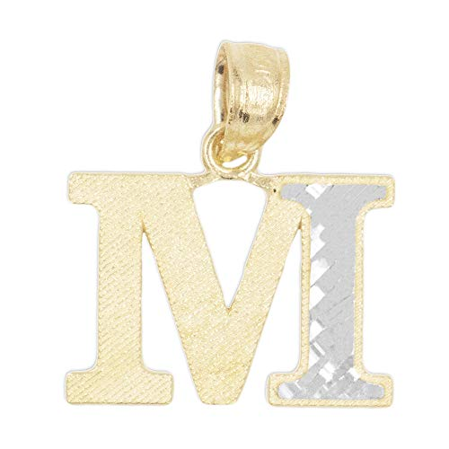 (10k Real Solid Gold Two Tone Initial Pendant with Diamond Cut Finish, Available in Different Letters Personalized Letter Jewelry Gifts for Her)
