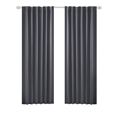 Deconovo Blackout Curtain Panels Window Draperies Rod Pocket/Back Tab Curtains Thermal Insulated Blackout Curtains for Bedroom 52x84 Inch Light Grey 2 - Window Pocket Curtain Rod