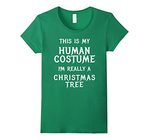 Costume Diy Christmas Tree (Womens Christmas Tree Halloween Costume Shirt Easy Funny Kids Adult Medium Kelly)