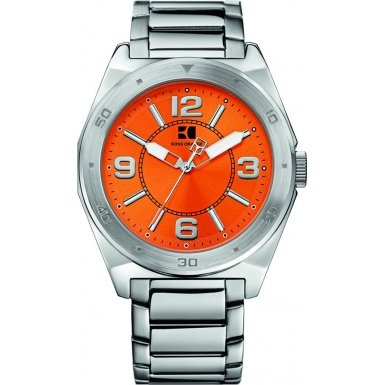 Hugo Boss Orange Dial Stainless Steel Mens Watch 1512900