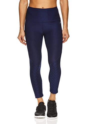 - HEAD Women's High Waisted Capri Leggings - Crop Activewear Yoga & Running Pants - Medieval Blue Title, X-Large