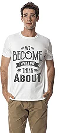 Motivation Series- Thinking cotton round neck tshirt, White L