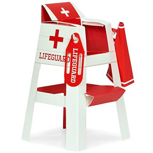 BirthdayExpress Summer Beach Ball Pool Party Supplies - Lifeguard Chair Placecard Holder Tabletop Decorations (8) ()