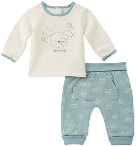 absorba Baby Boys 2 Pieces Pant Set, Silent Vanilla/Cocco Blue, 0-3 Months ()