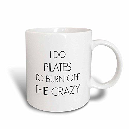 3dRose I Do Yoga To Burn off The Crazy Mug, 15 oz, White