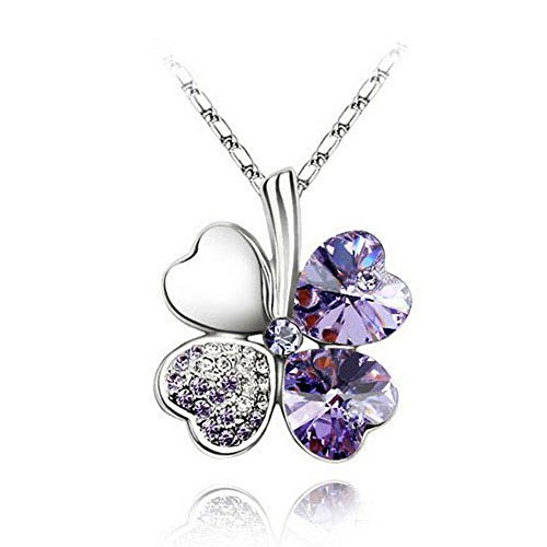JQUEEN Fashion 18K White Gold Plated Austrian Crystal Lucky Four Leaf Clover Pendant Necklace