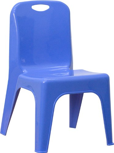 Flash Furniture Blue Plastic Stackable School Chair with Carrying Handle and 11'' Seat Height YU-YCX-011-BLUE-GG