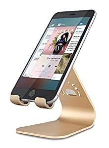 Cellphone Stand,INI Magnesium-aluminium Alloy phone dock for iPhone 6/SE/Samsung Galaxy S6 and other Smartphone(Gold)