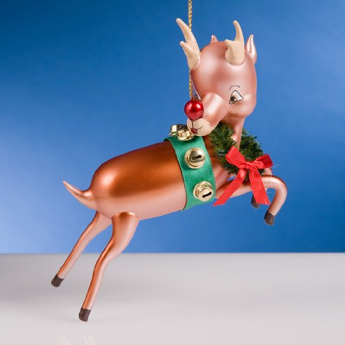 (De Carlini Reindeer From Sled Mouthblown Italian Glass Christmas Ornament)