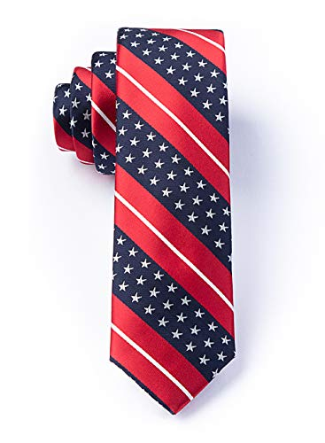 (Men's Red White Blue Freedom USA Stars & Stripes American Flag Patriotic Tie Necktie)