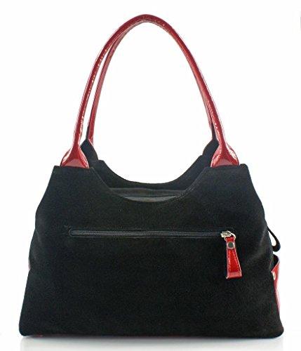BOSCCOLO CH 2110 ,Handtasche, leather, Leder, cuir (Black/red)