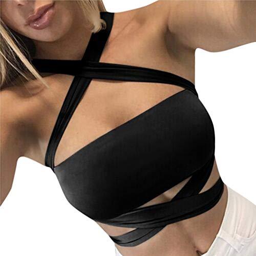 Womens Sexy Bandeau Vest Tanks,Sleeveless Halter Criss Cross Bandage Lace-up Tube Bra Strapless,Fashion for Ladies Girl Black ()