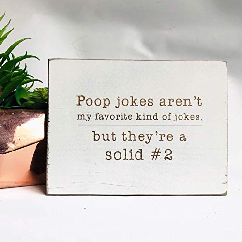 Etch & Ember Funny Bathroom Signs - Poop Jokes Aren't My Favorite - Farmhouse Style Decor - Rustic Wood Sign - 5.5