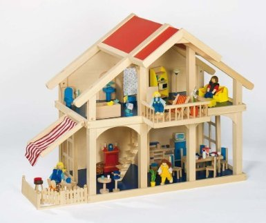 Goki 51893 Puppenhaus Villa mit Zubehör