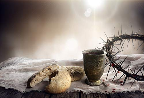 OFILA Jesus Christ Backdrop 7x5ft Crown of Thorns Chalice Photography Background Religion Belief Last Supper Forgiveness Holy Spirit Sacrifice Father of God Bible School Church Decoration Props