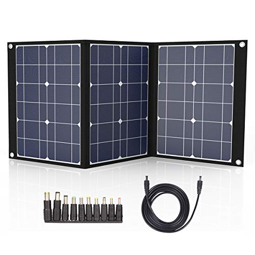 50W Portable Foldable Solar Panel Charger for Suaoki/Jackery Explorer 240 / Webetop/Goal Zero Yeti/Paxcess Portable Power Station Generator and Solar Charger Kit with MC4 Connector and 3 Output Ports