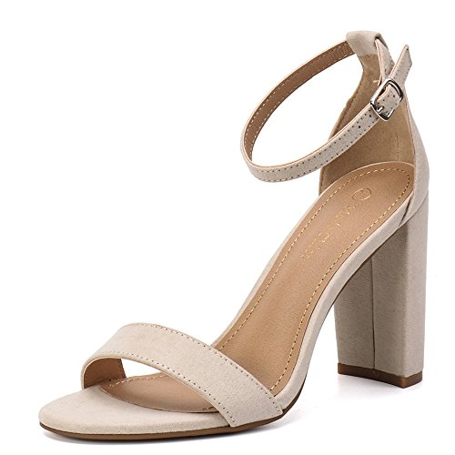 42b06b039f1 Moda Chics Women s High Chunky Block Heel Pump Dress Sandals Nude MF 8 D(M